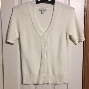 Ann Taylor Loft white short sleeve sweater Size M